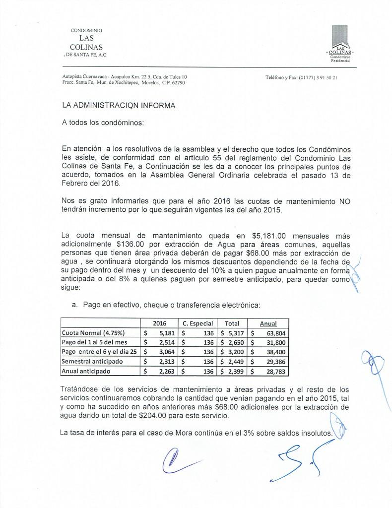 LA ADMINISTRACION INFORMA HOJA 120022016