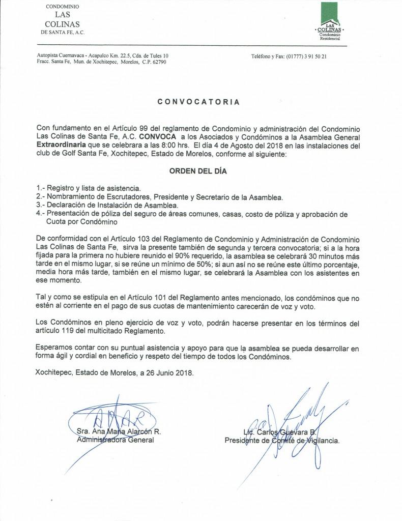 Convocatoria Asamblea Extraordinaria 4-Ago-2018